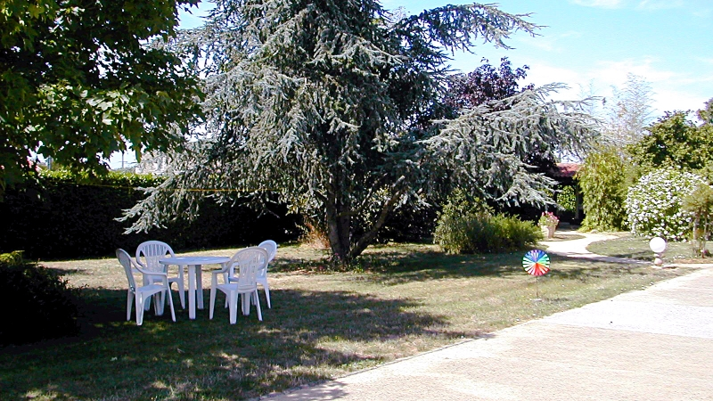 Main Garden in Front of Gites with Seating Area - Click for bigger image in new window